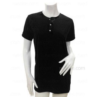 Henley-Neck Short Sleeves T-Shirt for Women